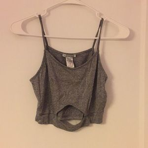 Gray spaghetti strap crop top